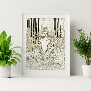 Forest Fawn - Ink Print Illustration